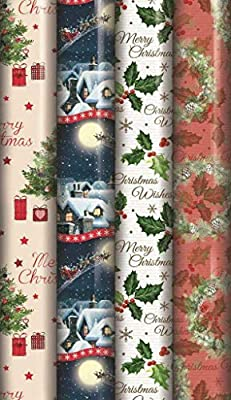 4 X 8M Rolls Christmas Xmas Wrapping Paper Assorted Designs ASOS Santa Bell Xmas Trees Stocking Rudolph Traditional Style ND