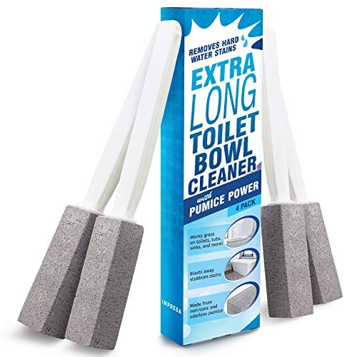 Pumice Stone Toilet Bowl Cleaner with Extra Long Handle 4 Pack  Limescale Remover  100% Natural Pumice Toilet Brush  Also Cleans BBQ Grills Tiles Tile Grout amp Swimming Pools by Impresa