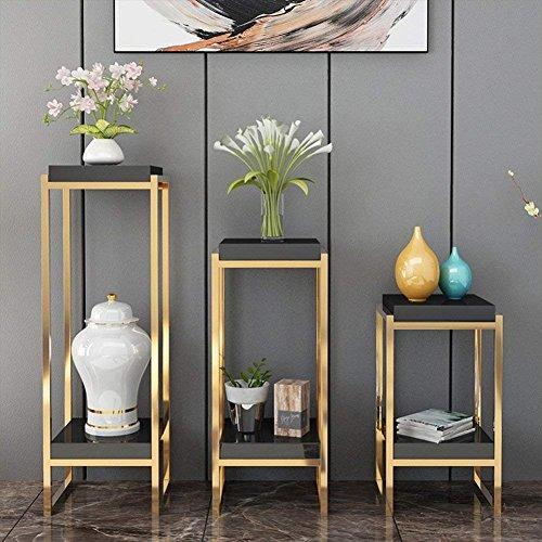 Plante Fleur support support de pots de fleurs en acier inoxydable plaqué or triangulaire Floor-standing multifonction multicouche Salon balcon Chambre à coucher lumière Luxe Intérieur/extérieur, 2 couleurs 30 x 30 x 60/80/100 cm, noir