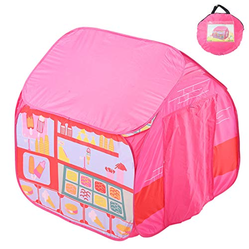 MOKY Childrens Girls Fairy Princess Pink Pop Up Castle Play Tent with Portable Healthy Playhouse - Suitable for indoor and outdoor use