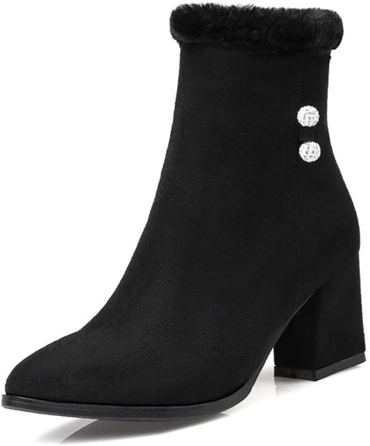 Beautiful - Fashion Women's Suede Ankle Boots Comfort Round Toe Side Zipper Block Heel Slip-on Winter Ankle High Western Snow Boots
