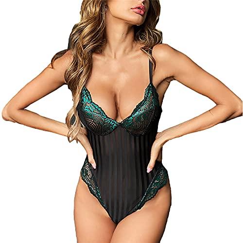 HEling Body sexy para mujer, de encaje, de una pieza, picardías profundo en V, con espalda descubierta, transparente, sin mangas, Negro , S