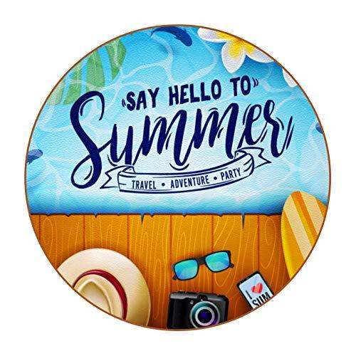 Regalo de inauguración de la casa DIY Patrón Super Fibra Cuero Ronda Posavasos Para el Hogar Cocina Oficina Verano Playa Flor Sandalias Surfboard Hat