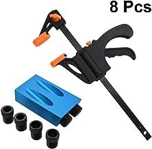 Doitool - Juego de 8 brocas de taladro para mini tornillos angulares de 15 grados, herramienta para uniones de madera, accesorios para la elaboración de madera, guía para puntas (azul)