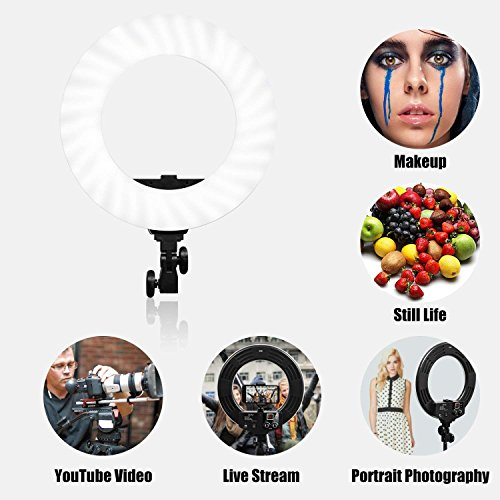 GVM Photo Studio LED Ring Light with Light Stand Kit 18-inch 3200-5600K CRI 97+ Dimmable Bi-Color SMD LED Lighting for Portrait Video Shooting