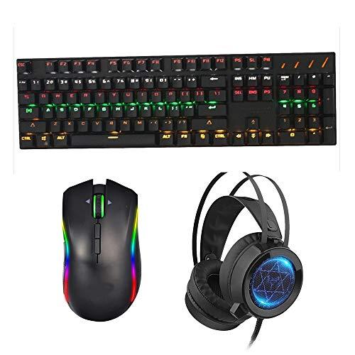 JIEIIFAFH 104 Keys Verde ASSE Meccanico della Tastiera Notebook Tastiera Desktop Gioco Esport RGB Luminous Meccanica (Size : L)