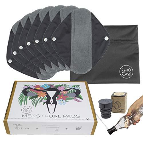 CuloClean 7er pack (S) Waschbare Slipeinlagen mit Flügeln aus Bambusfaser. Dünn wiederverwendbare Binden aus atmungsaktivem und wasserdichtem Stoff + Reisebeutel + Po Dusche
