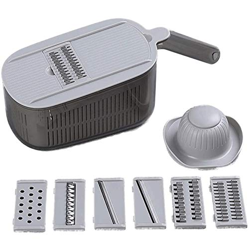 YIBOKANG Vegetable Chopper Slicer,Fruits Cutter Slicer Food Chopper,Cutter with 6 Stainless Steel Blades,with Storage Container (Color : A)