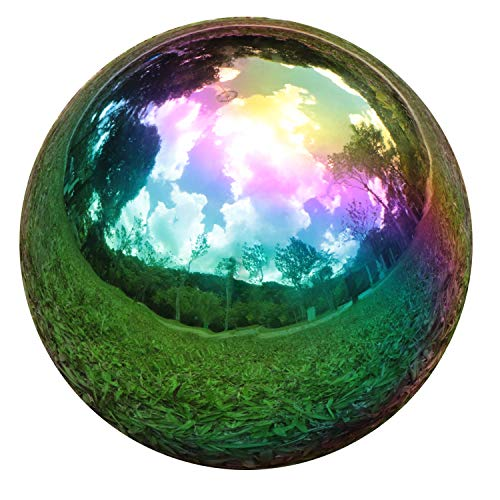 YeahaWo Rainbow Gazing Globe Mirror Balls for Garden Home Stainless Steel Shiny Hollow Sphere Sparkling Outdoor Ornament (10 Inch)