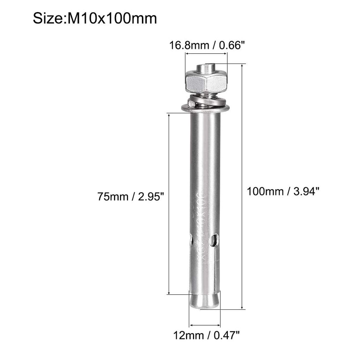 3 Pcs L-A M10x70 304 Stainless Steel External Hex Expansion Bolt Screw Sleeve Anchor Expansion Screw Bolt Burst