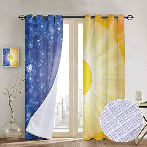 Jinguizi Room Darkening Curtains Space,Split Design with Stars in The Sky and Sun Beams Solar Balance Nature Image Print,Blue Yellow Best Home Fashion Wide Width Thermal Insulated Blackout Curtain