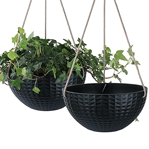 LA JOLIE MUSE Hanging Planter Set for Outdoor Indoor with Drain Hole, 10 Inch Plant Pots with...