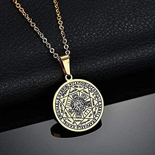 AKDLKXTS Collar Talismán de Oro Sellos de los Siete arcángeles Collares Pendientes Collar de pentáculo de Acero Inoxidable para Mujer
