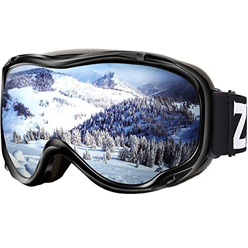 ZIONOR Lagopus Ski Snowboard Goggles UV Protection Anti Fog Snow Goggles for Men Women Adult Youth VLT 8.6% Black Frame Silver Lens
