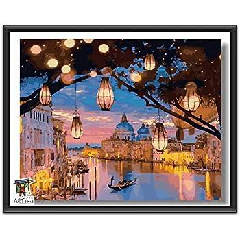 ARTomo【アトモ】パズル油絵『フレーム付き』数字 油画 DIY 塗り絵 本格的な油絵が誰でも簡単に楽しく描ける 40x50cm (夜の町)