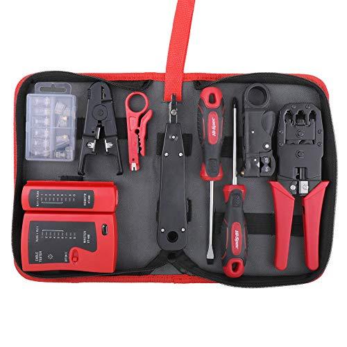 Hi-Spec Kit de Instalación y Reparación de Red con Comprobador Test de Cables de Línea y Conexión, Crimpadora, 19 Herramientas y Accesorios en Estuche con Cremallera