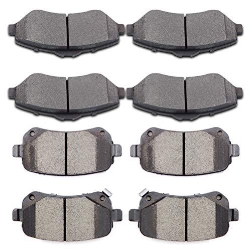 SCITOO Ceramic Discs Brake Pads Kits, 8pcs Disc Brakes Pads Set fit for 2008-2012 Chrysler Town Country,2008-2011 Dodge Grand Caravan,2009-2012 Dodge Journey,2012 Ram C/V,Volkswagen Routan