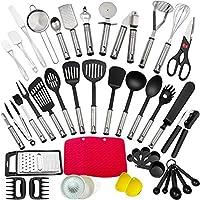 utensili da cucina, set di utensili da cucina in acciaio inox e nylon, resistente al calore antiaderenti utensili dautensili da cucina 44 pezzi, compresi spatole, cucchiaio, apriscatole, pelapatate.