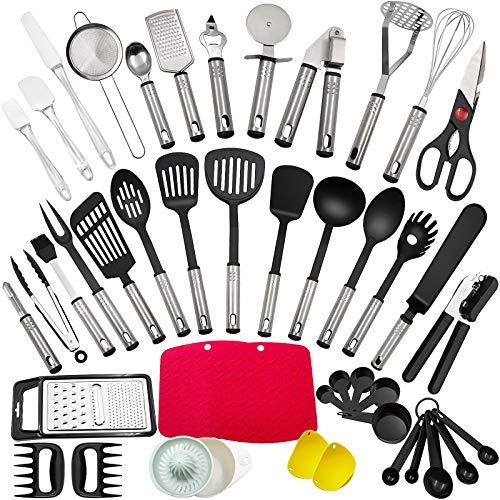 Juego de utensilios de cocina, 44 piezas de utensilios de cocina hechos de acero inoxidable y nailon, utensilios de cocina, espátulas, cucharas, giradores, tamices, utensilios de cocina para barbacoa.