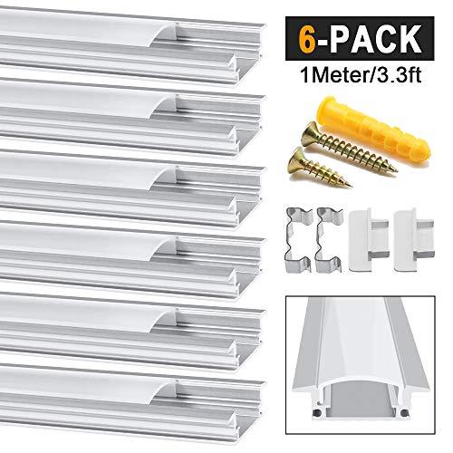 Chesbung LED Aluminium Profil 1m, 6er Pack in YW-Form für LED-Strips/Band bis 12 mm) inkl. Abdeckungen in milchig-weiß, Endkappen, und Montagematerial