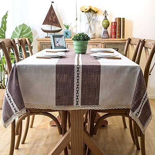 Wondder Mantel Cordón de la Borla del paño de Tabla del Lino algodón la Cubierta de Tabla Cena Banquete Partido del Mantel de la Tabla (Encaje marrón, 120x160cm(47.2x62.9inch))