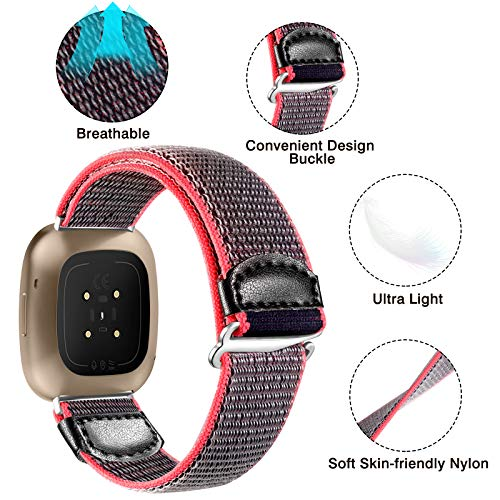 JUVEL Strap Compatible with Fitbit Versa 3 Strap/Fitbit Sense Strap, Soft Woven Nylon Sport Loop Breathable Replacement Wristband for Women Men, Greyblue