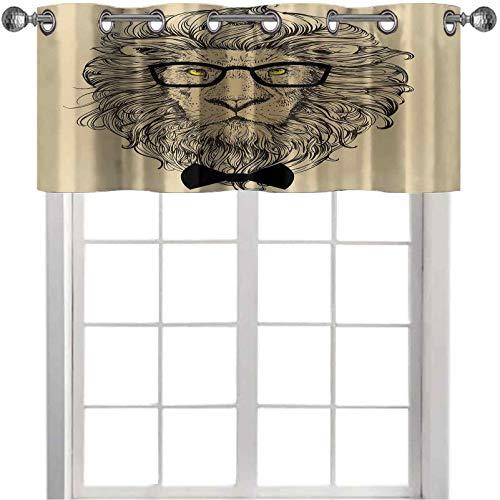 Cortinas con cenefa, diseño de león, retrato con gafas y pajarita, estilo hipster, 127 cm de ancho x 45 cm de largo para ventana, para dormitorio, color marrón, negro, amarillo
