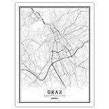 Drucke Leinwand, Österreich Grazer Stadtplan Schwarz Weiß