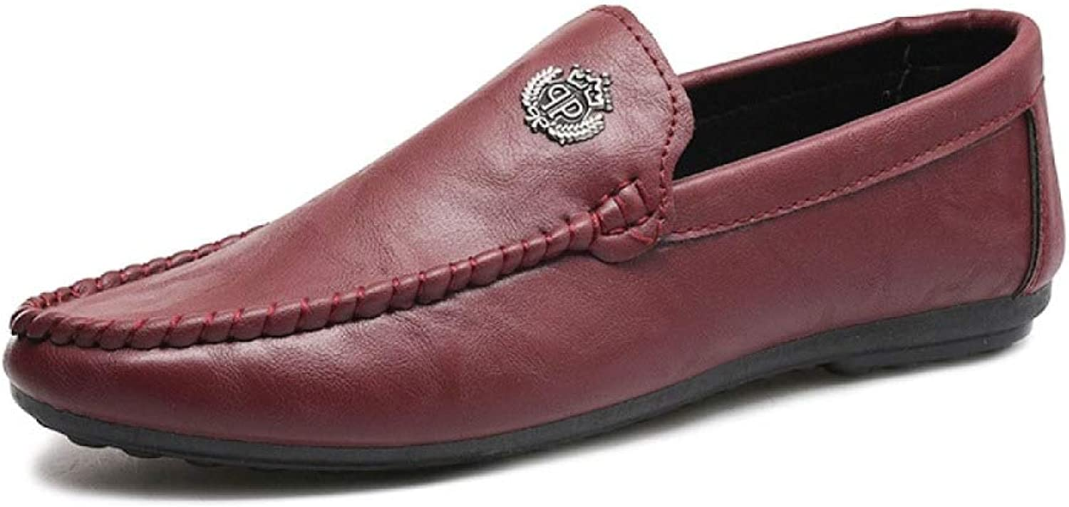 Men's shoes Red Breathable Soft Leather Casual shoes