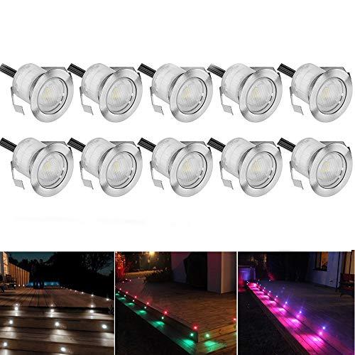 10 Stück RGB LED Einbaustrahler led Bodeneinbauleuchte IP67 wasserdicht 0.5W Ø30mm led Einbauleuchte Terrasse Küche Garten Led Lampe