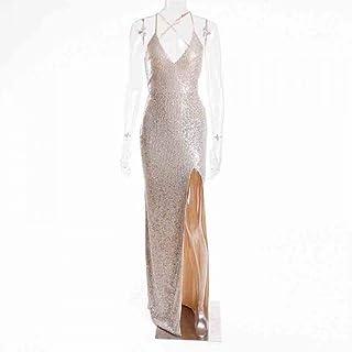 فستان لل نساء مقاس M , فضي - فساتين ماكسي