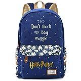 NYLY Mochila Escolar de Flores para niñas Mochilas Informales de Moda/de Compras/de Viaje, Mochila de la Serie Harry Potter (Estilo F) L Azul Oscuro