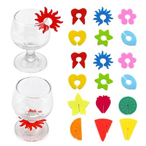 Elinala Glasmarker, Glasmarker Silicon, 18PCS Wiederverwendbare Blütenblätter und Fruchtmuster Mischfarbe Weinglas Dekorative Markierungen für Weingläser und Getränkegläser