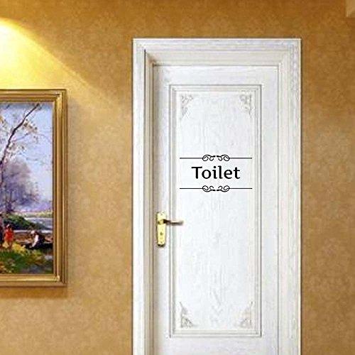 ufengke Semplice Segno Toilet Adesivi Murali Parole Decorativo Nero Lettere per Pareti & Porte, Removibile Vinile Fai da Te Stickers Murali per WC, Bagno
