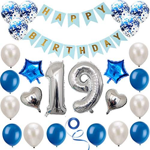 Haosell 19 Geburtstag Dekoration Set, Silber Blau Geburtstagsdeko, Geburtstagsfeier Dekoration, Happy Birthday Banner, 19 Jahre Alte Silber Zahlen Luftballons Deko für Mädchen, Jungen, Frauen, Männer