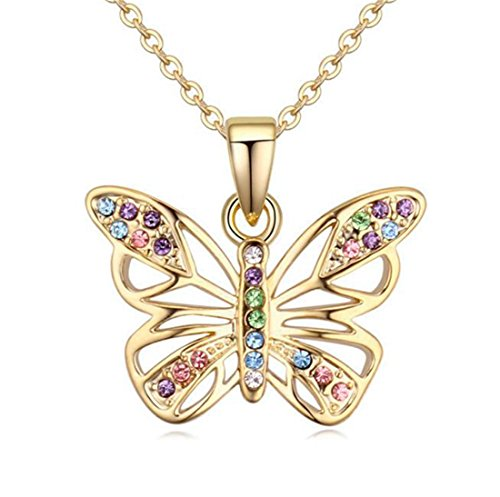 Kiokioa Charm Butterfly Multi-Color Crystal Chain Pendant Necklace Fashion Gift for Women Girls (Style 5)