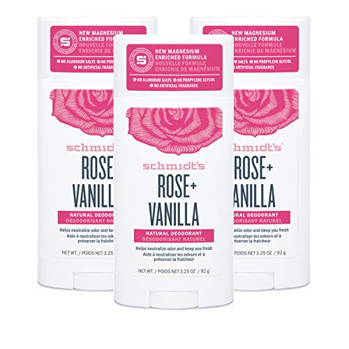 Schmidt's Aluminum Free Natural Deodorant for Women and Men, Rose + Vanilla with 24 Hour Odor Protection, Certified Cruelty Free, Vegan Deodorant, 3.25 oz 3-pack