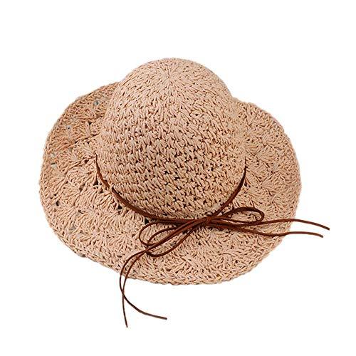 GPWDSN Sombrero de Paja para niños Sombreros de Playa de Verano Sombrero de Sol de Borde Ancho Sombrero de Verano Sombrero de Playa