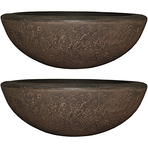 Sunnydaze Percival Flower Pot Planter Bowl, Outdoor/Indoor Ultra-Durable Double-Walled Polyresin, UV-Resistant Sable Finish, Set of 2, Large 21-Inch Diameter
