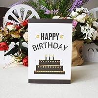 3D三次元のグリーティングカードバースデーカードの女の子の子供たちの子供たちの妻の夫の誕生日ケーキ挨拶カードギフトカードと封筒ステッカーポストカード (Color : Birthday card)