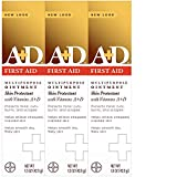 A+D First Aid Ointment - Moisturizing Skin Protectant for Dry Cracked Hands, Elbows, Heals and Lips - Use After Hand Washing – 1.5 oz Tube (Pack of 3), Packaging May Vary