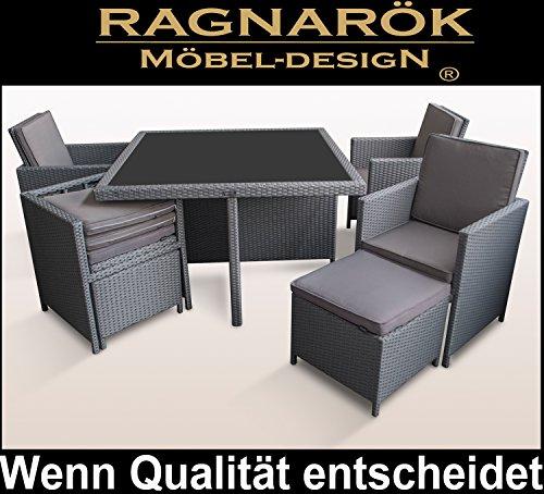 Ragnarök-Möbeldesign PolyRattan - DEUTSCHE Marke - EIGNENE Produktion - 8 Jahre GARANTIE auf UV-Beständigkeit Gartenmöbel Essgruppe Tisch + 4 Stühle & 4 Hocker 12 Polster Platinum Grau - 7