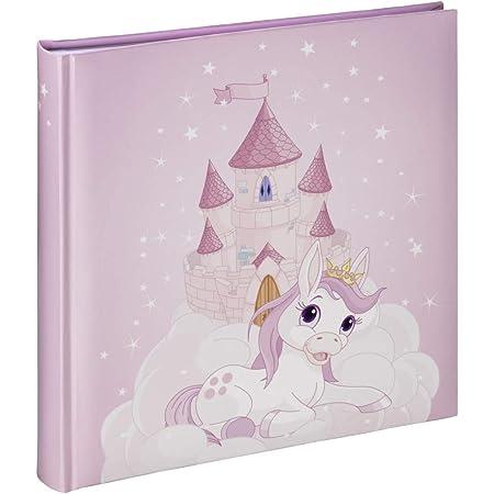 """Hama Album photo """"Joana"""" (pour 100 photos au format 10 x 15 cm, album traditionnel enfant de 25 x 25 cm, 50 pages blanches, château, licorne, élégant) Rose/Blanc"""