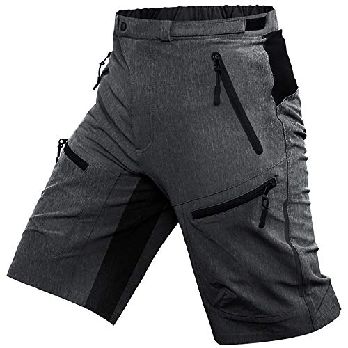 Cycorld Mens Mountain Biking Shorts Bike MTB Shorts Loose Fit Cycling Baggy Lightweight Pants with Zip Pockets(Dark Grey, Large)