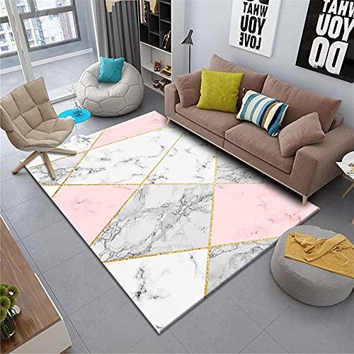 Kunsen Alfombra niña habitacion cojin Suelo Grande Alfombra Rosa Blanco Dormitorio Moderno Rectangular decoración de la Sala de Estar alfombras niños 200X250CM 6ft 6.7' X8ft 2.4'