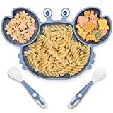 rocced suction plate for babies, silicone plates with suction for baby divided, baby spoon fork set