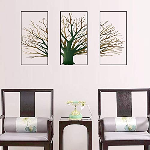 """3PCS 12""""x24"""" Tree Wall Decal 3 Pictures Wall Decor Plants Wall Stickers Removable Peel and Stick Home Decor for Living Room TV Sofa Background Kids Girls Bedroom Playroom Nursery Decoration (Green) …"""