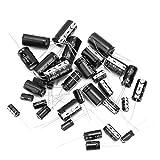 110 unidades Kit de condensador electrolítico, condensadores electrolíticos de 16 V 10 uF a 4700 uF Set de surtidos Set negro con resistencia marcada Lable