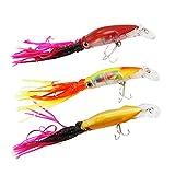Faldas de calamar pulpo señuelos de pesca de tronco duro artificiales de bajo y cebos con anzuelos de pesca de agudos (Multicolor 2)