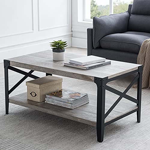 """OKD 40"""" Industrial Coffee Table Cocktail Tables Farmhouse for Living Room Meeting Room, with X-Shaped Metal Frame, 10 Mins Quick Assembly, Light Rustic Oak"""
